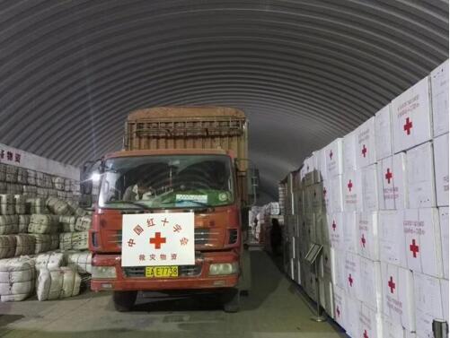 中国红十字会总会援助洪涝灾区物资装车发运。
