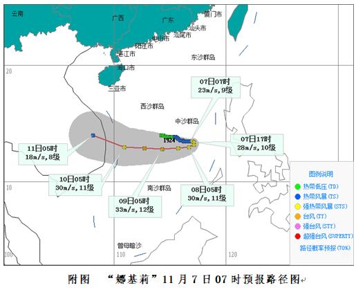 """海南继续发布台风四级预警,""""娜基莉""""7日回旋8日起偏西移动"""
