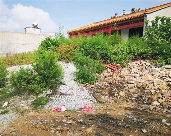 周朝村民房边垃圾杂物乱堆。 见习记者 谢凯 摄