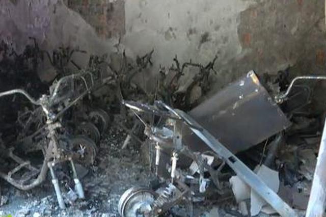 儋州一电动车商铺发生火灾 40辆电动车烧得只剩下骨架