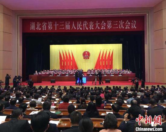 图为湖北省第十三届人民代表大会第三次会议现场 马芙蓉 摄