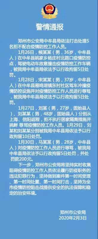 警情通报:中牟县依法打击处理5名拒不配合疫情防控人员