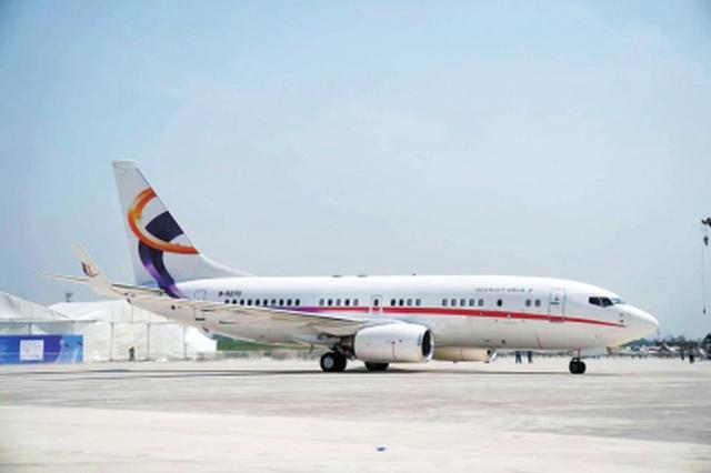 郑州进入双机场时代 波音737-BBJ公务机飞抵上街