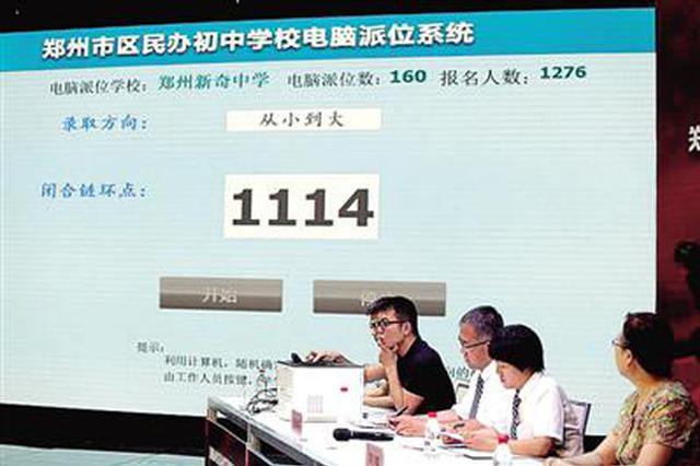 郑州32所民办初中电脑派位 报名33764人录取4860人