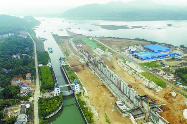 湖南最大水运大项目 源渡航电枢纽二线船闸建设正酣