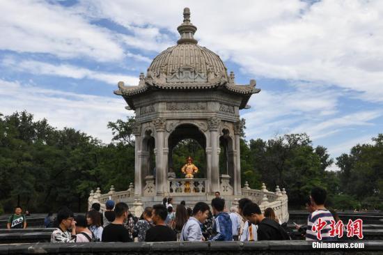 图为游客们在圆明园黄花阵迷宫内游玩。中新社记者 崔楠 摄