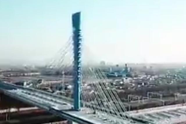 """四平东丰路立交桥通车 创国内转体斜拉桥""""5个之最"""""""