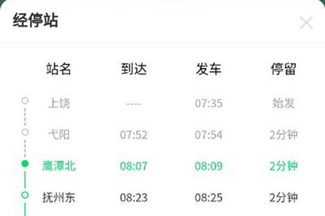 鹰潭市政府提建议国铁认可 一列早班高铁近日开通