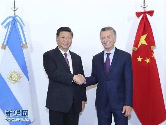 当地时间12月2日,国家主席习近平同阿根廷总统马克里在布宜诺斯艾利斯举行会谈。 新华社记者 谢环驰 摄