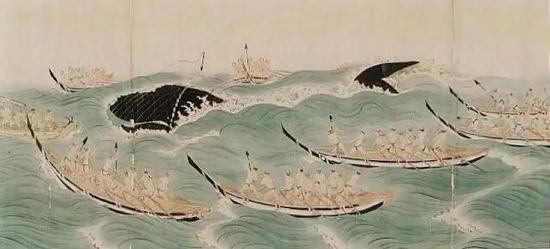(图为日本远古时期的捕鲸图 图源:不都雅察者网)
