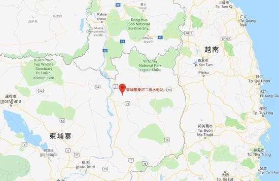 桑河二级水电站地图位置(谷歌地图)