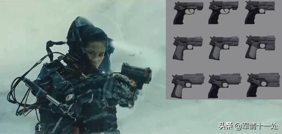 图注:剧照中的手枪和设计概念图