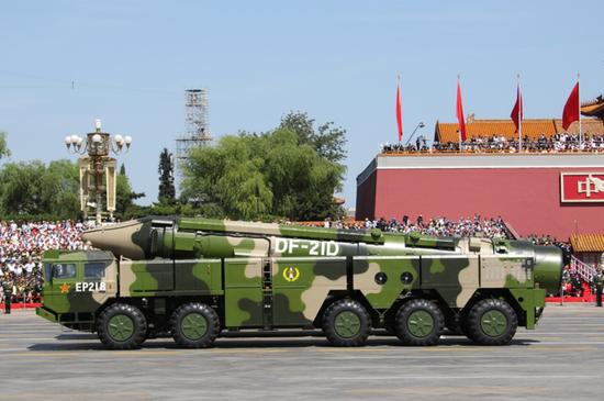 参加2015年胜利日阅兵的东风-21D反舰弹道导弹 图源:社交媒体