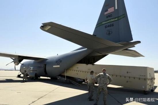 MQ-9打包好裝進C-130機艙