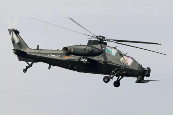 中国武直-10中型武装直升机(图源:airliners)