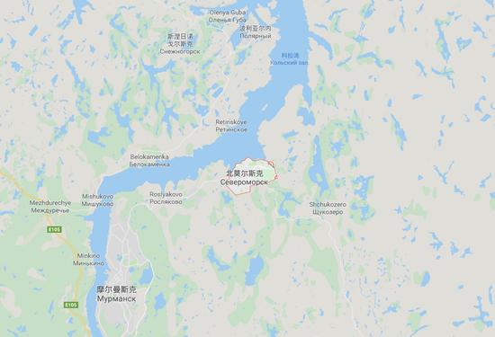北莫尔斯克基地位置 图自GOOGLE地图