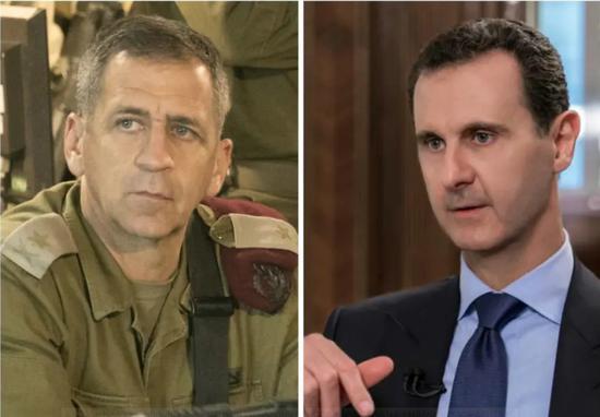 新任以色列总参谋长科查维少将和阿萨德总统