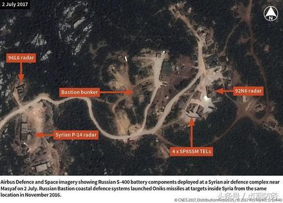 △迈斯亚夫山区的S-400防空导弹阵地,这个阵地与塔尔图斯、赫梅米姆的海空军基地形成铁三角守护俄军