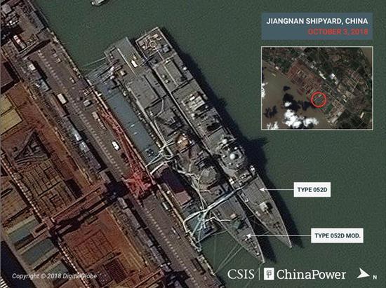 卫星拍摄到的055驱逐舰和052D驱逐舰