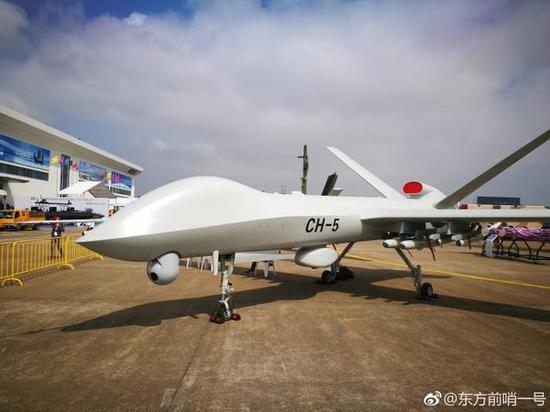 图片:完成一站双控试飞,到珠海航展展示的彩虹-5无人机。