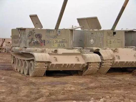 ▲伊拉克人将56式迫击炮安置在59坦克底盘上