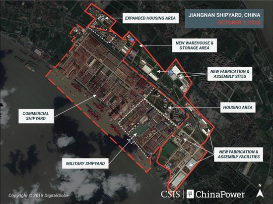 卫星2018年拍摄的江南造船厂,虚线片面为2011年周围 本文图自CSIS网站