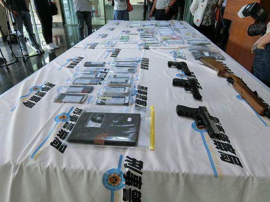 台湾警方缴获的物证 图片来自台媒