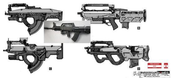 图注:QBZ47步枪设计概念图和95式步枪的比较