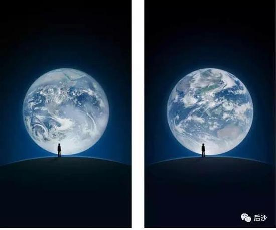 中心画面将由非洲大陆变成中国云图(右图),喻意人类文明中心将向华夏文明转变(如果公知想哭,支持他们弃用微信)。