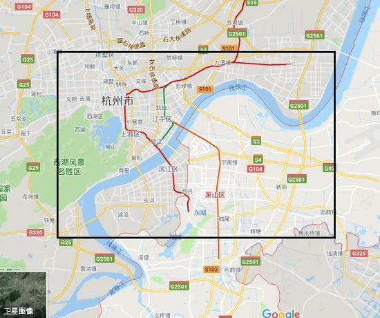 杭州地域网友所述的能听到巨响的区域,包括萧山、下沙、西湖等地