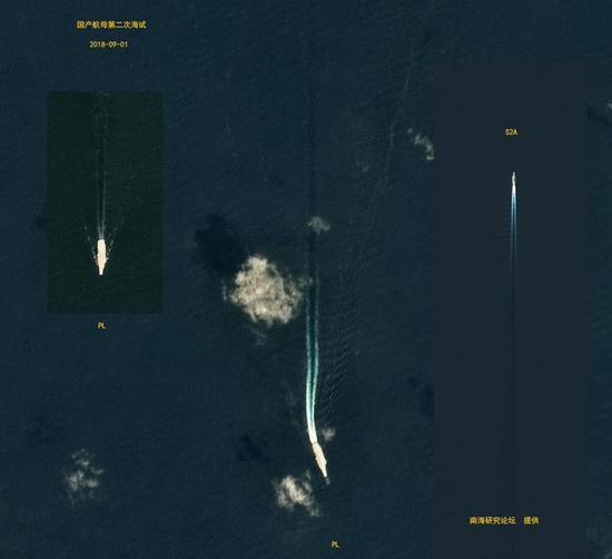 欧洲卫星拍摄的国产航母试航画面