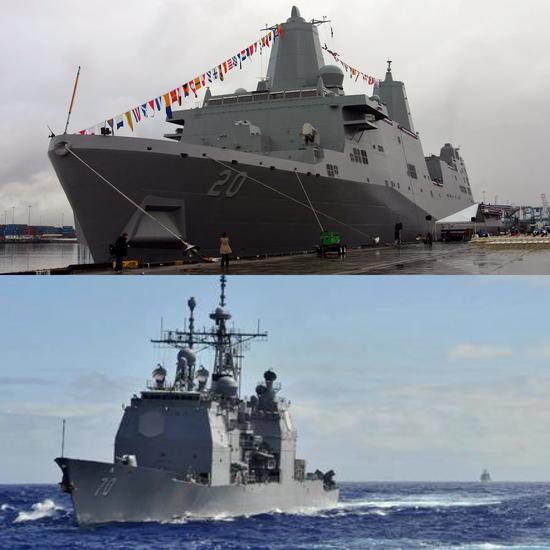"""上图为两栖攻击舰""""绿湾""""号(LPD-20)和下图为巡洋舰""""伊利湖""""号(CG-70)"""