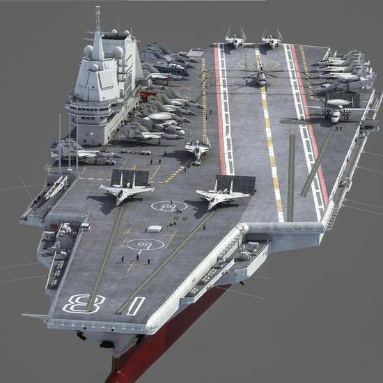 中国003航母至少比辽宁舰大2万吨 或载48架歼20