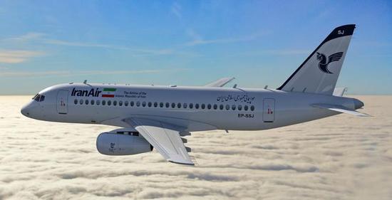 图为伊朗航空涂装的SSJ-100R客机想象图。