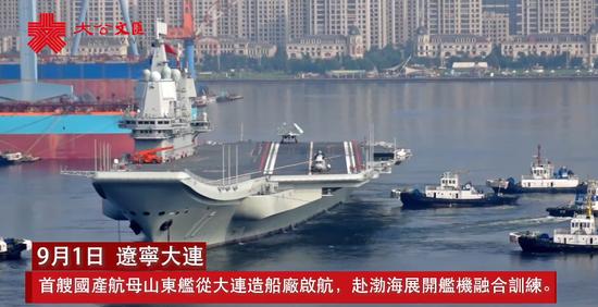 港媒:山东舰启航赴渤海展开舰机融合训练(图)