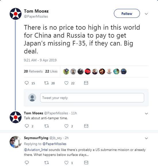 美国专家汤姆・摩尔的推文截图。