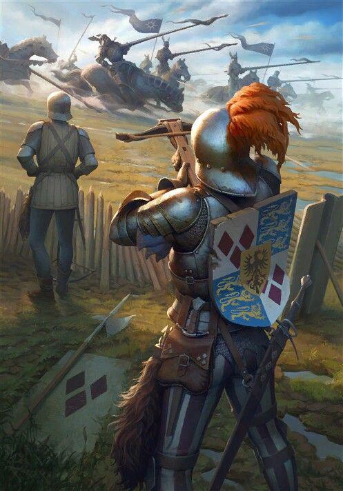 中世纪,操纵弩的平民士兵能够容易杀物化重装骑士
