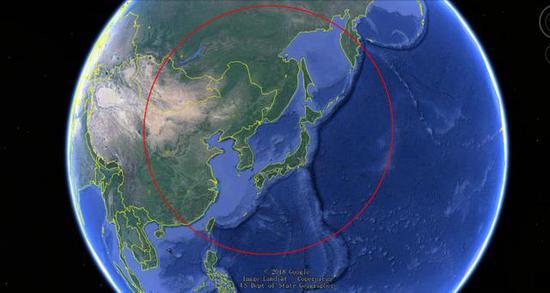 """◎3M54""""口径""""巡航导弹列装宁靖洋舰队之后的射程遮盖周围暗示图"""