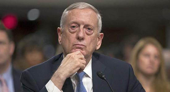 图为美国国防部长马蒂斯