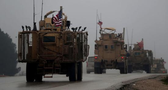 在叙利亚的美军车队资料图。