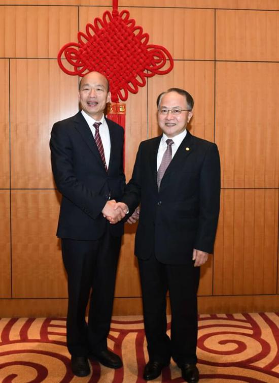 韩国瑜和王志民 图自香港中联办微信公众号