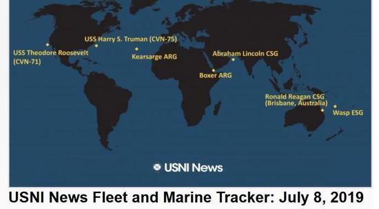 美军林肯号航母打击群在霍尔木兹海峡附近,拳师号两栖戒备群在曼德海峡附近。
