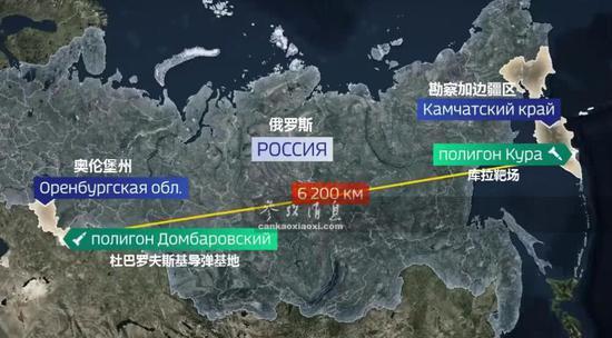 此次试射的弹道暗示图,射程达到6200公里。