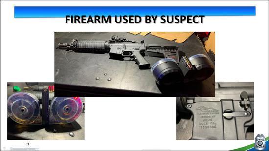 AR-15步枪和100发弹鼓(图源:代顿警察局)