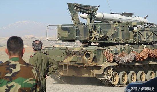 """△叙利亚装备的""""山毛榉""""M2防空导弹,叙利亚拥有一定量的新型俄制防空系统,拦截巡航导弹这些导弹的基本要求"""