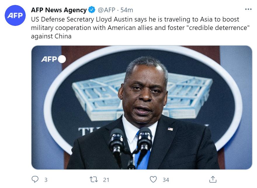 """美防长称要与盟友合作 打造针对中国的""""可信威慑"""""""