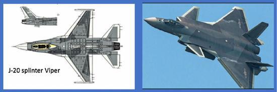 """(美国空军伪想敌部队将采用歼-20的""""割裂""""迷彩)"""