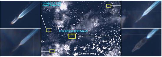 外媒:美軍航母在中國南海半月礁附近海域活動(圖)