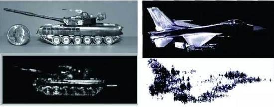 图 2 T80 坦克和 F16 战机模型及太赫兹成像终局