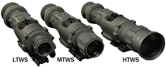 AN/PAS-13E系列三种不同级别的热像瞄具,左起分别为轻型、中型和重型瞄具。